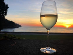 sunset and white wine at the hotel